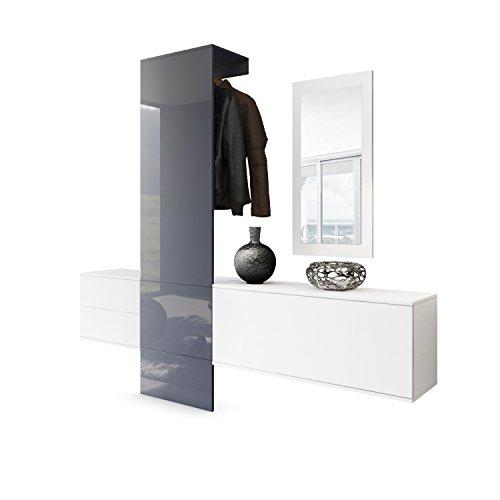Vladon Garderobe Wandgarderobe Carlton Set 1, Korpus in Weiß matt/Paneel in Grau Hochglanz