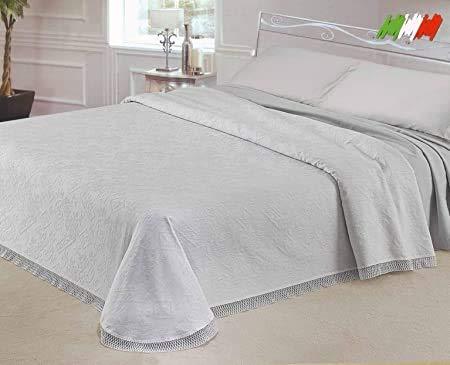 Smartsupershop Tagesdecke für Doppelbett, Brokatello, elegant & raffiniert, mit Spitze auf drei Seiten, Qualitätsprodukt, hergestellt in Italien, Farbe Weiß