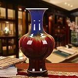 M-YN Jarrón Decorativo Altos jarrones de Flores, cerámica China florero Grande, Decoraciones caseras for Sala de Estar Rojo 36 * 23cm Decoración para Hogar y Oficina