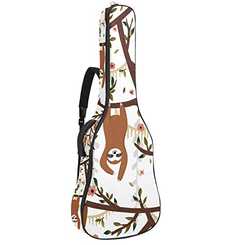 Bennigiry Divertidos perezosos colgando en el árbol de la guitarra de la bolsa de concierto de guitarra acústica bolsa de transporte para guitarrista