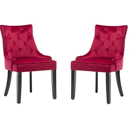 mecor Dining Chairs Set of 2 Velvet Fabric Chairs with Wooden Style Metal Legs for Dining Room,Living Room,Kitchen,Red(And many