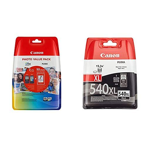 Canon PG-540XL+CL-541XL Cartuchos de tinta BK+Tricolor XL para Impresora de Inyeccion Pixma + PG-540XL Cartucho de tinta original para Impresora de Inyeccion Pixma, Negro XL