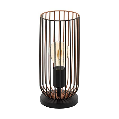 EGLO Tischlampe Roccamena, 1 flammige Vintage Tischleuchte, Nachttlischlampe aus Stahl, Farbe: schwarz, kupfer, Fassung: E27