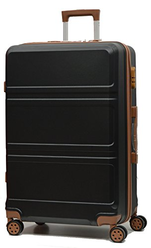 DK Luggage Starlite ABS Large 28' Hardshell Suitcase 4 Wheel Spinner with Tan Trimming Black