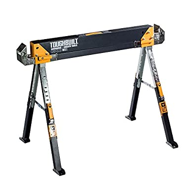 ToughBuilt - Folding Sawhorse / Jobsite Table - Sturdy, Durable, Lightweight, Heavy-Duty, 100% High Grade Steel, 1300lb Capacity, Pivoting Feet, Adjustable Height Legs, Easy Carry Handle (TB-C700) NEW