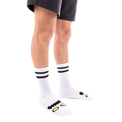 Toy Machine Monster Face Crew Socks [White] Single Pair by Toy Machine