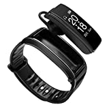 QUARKJK Fitness Tracker TalkBand 2 in1 Smart Bracelet Watch Auricolare Bluetooth Cardiofrequenzimetro Vivavoce Chiama Musica Goditi l'auricolare Smartwatch,Black