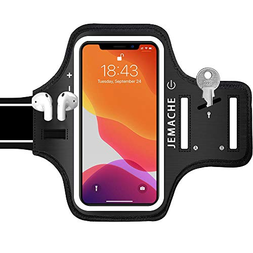 iPhone 11, XR Armband with AirPods Holder, JEMACHE Water Resistant Gym Running Workouts Arm Band Case for iPhone 11, iPhone XR (Black)