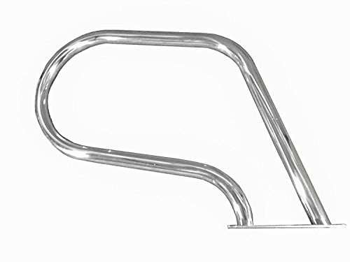 FibroPool Easy Mount Hand Rail with Base Plate, Small (Stainless Steel)
