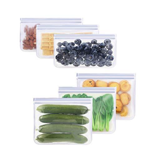 Preisvergleich Produktbild UPKOCH 6 Stücke Wiederverwendbare Lebensmittel Aufbewahrungsbeutel Flache Druckverschluss-Gefrierschrank Taschen Lebensmittel Frischhaltebeutel mit Verschlussstreifen (Transparent)