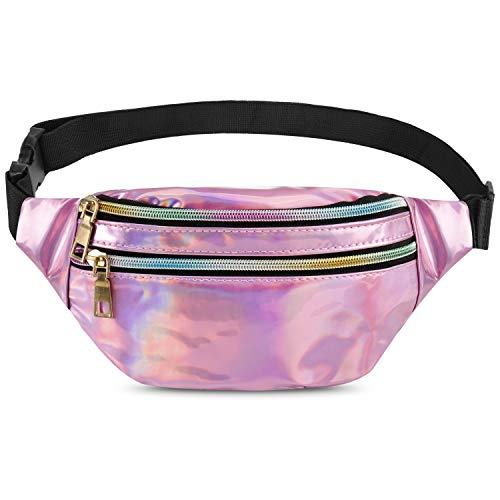 Qisiewell Mode-Bauchtasche Wander-Hüfttasche Sport-Gürteltasche 3 Fächer Reißverschluss Verstellbarer Gurt Damen/Herren (Laser-Rosa/Weiß) (Rosa)