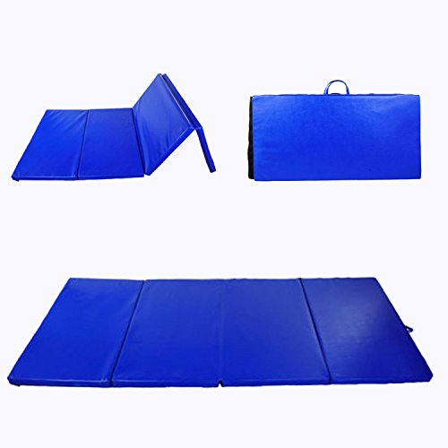 Soozier PU Leather Gymnastics Tumbling/Martial Arts Folding Mat, Blue, 4 x 6' x 2""