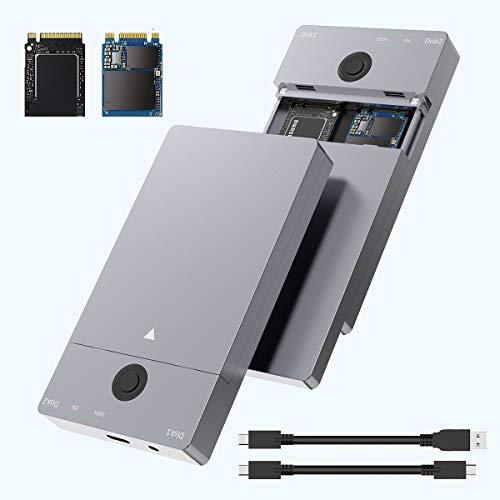 Rocketek USB Type C 10G to NVME Dual-Bay NVME Docking Station, Dual Bay M.2 NVMe SSD Enclosure for M Key & B+M Key NVMe PCIe 2230 2242 2260 2280 SSDs, NVMe Hard Drive Reader, Tool-Free'