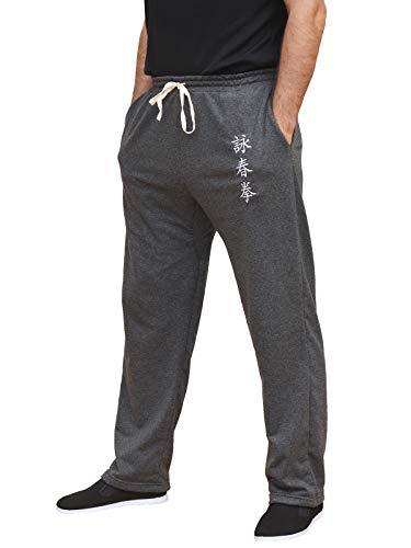 Pantalones Kung Fu de Artes Marciales Hombres Mujeres Cómodo Suave Gris, Talla M