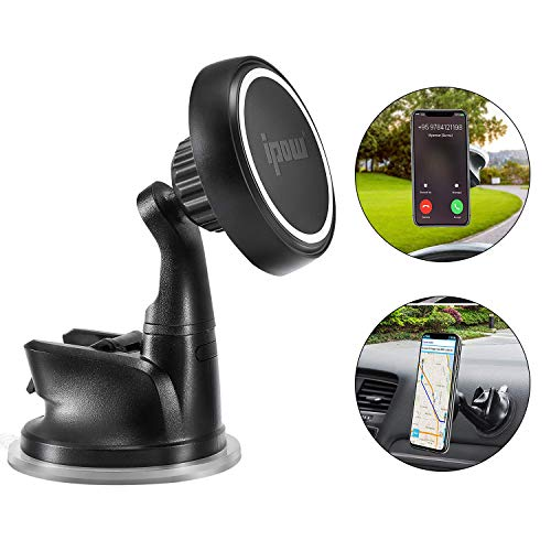 IPOW Magnet Auto kfz Handyhalterung Saugnapf für Windschutzscheibe Armaturenbrett, Auto Handyhalter mit 2 starken Magneten universal für Smartphone wie iPhone x xr 8 7 6 Plus Samsung s9 u.s.w.