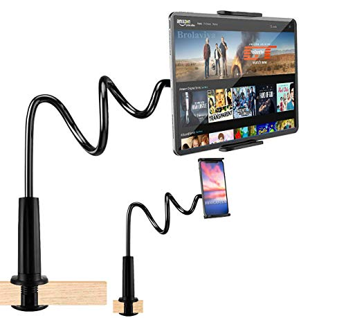 BROLAVIYA X3 Smart Phone Holder, Gooseneck Flexible Lazy Arm Mount and Stand for Both Mobiles and Tablets Device 4 to 10.5 Diagonal Inch Used at Desktop Bedroom, Office, Bathroom, Kitchen