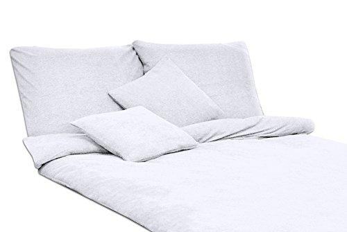 MODHAUS Bettwäsche Set Frottee einfarbig schöne Farben viele Größen (135x200+1x80x80, weiß)