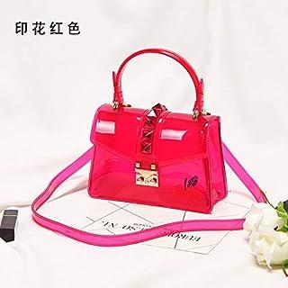 Adebie - Candy Fashion Women Summer Clear Handbag Rivet Transparent Colorful Jelly Small Tote Bag Brand Designer Shoulder Crossbody Bag red []