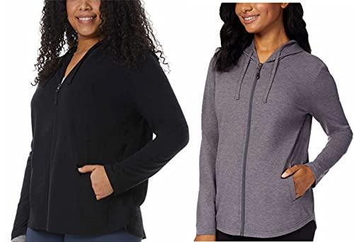 32 Degrees Ladies' 2-Pack Full Zip Up Hoody (Black & Iron, Large)
