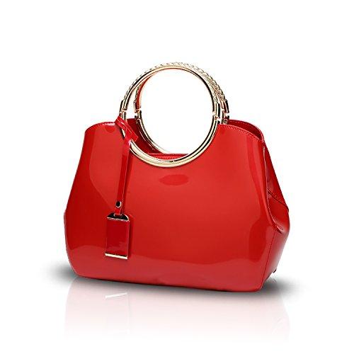 Tisdaini® Damenhandtaschen Mode Schultertaschen Lackleder Shopper Umhängetaschen Rot