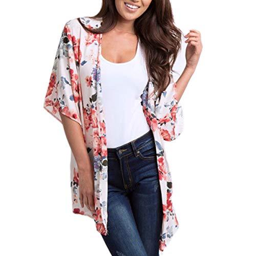 ECOMBOS - Kimono largo para mujer con estampado floral, para la playa,