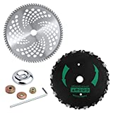 EXCELFU 9' x 20T Chainsaw Tooth Brush Blade & 10' x 80T Carbide Tip Brush Cutter Trimmer Blade with Adapter for Cutter, Trimmer, Weed Eater