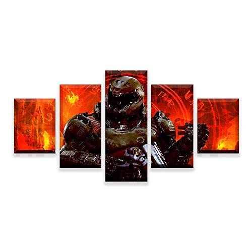 JIONGJIONG Decoracion Salonmodernos 5 Piezas Lienzo murales Pared hogar Pasillo Decor Abstracto Lámina Enmarcado HD Innovador Regalo Los Mejores videojuegos 150 * 80 CM