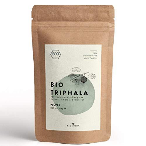 BIONUTRA® Triphala-Pulver Bio 250 g, Pulver von Haritaki, Amalaki, Bibhitaki aus kontrolliert biologischem Anbau, Rohkost, faire Produktion aus Sri Lanka