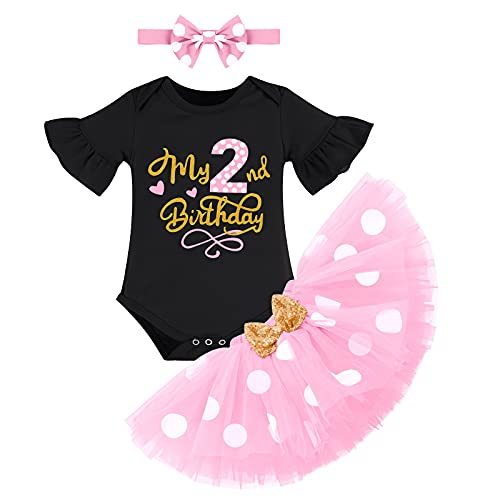 Recién Nacida Bebé Niñas Segundo Cumpleaños Trajes Conjuntos Manga Corta Mameluco+Tutú de Tul de Lunares de Minnie+Diadema Bowknot 3 Piezas Vestido de Fotografía de Princesa Negro+Rosa 2 Años