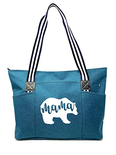 Large, Cute, Fun, Unique Tote Bag for Women - Unique Fun Gifts for Work, Gym, Beach, Christmas, Birthday, Mother's Day (Mama Bear Teal Premium)