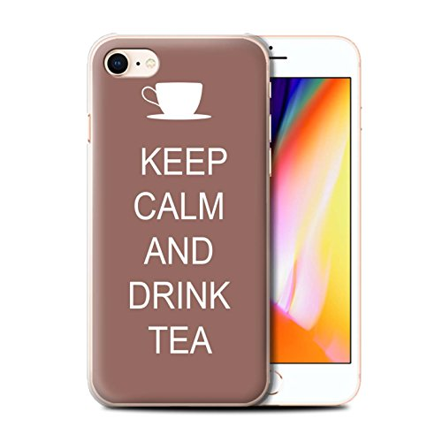 Telefoonhoesje voor Apple iPhone SE 2020 Keep Calm Drink Thee/Bruin Ontwerp Transparant Helder Ultra Slim Dun Hard Back Cover