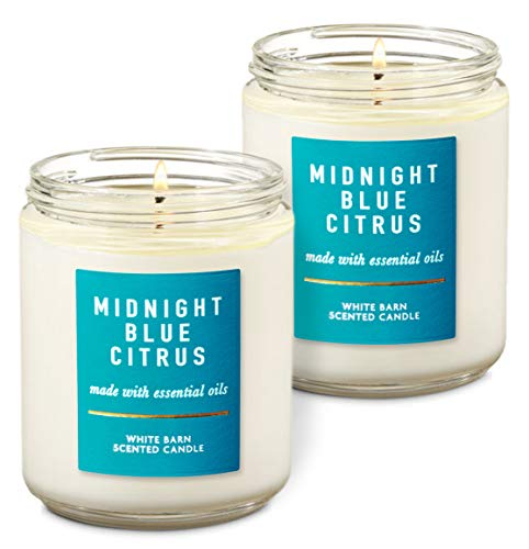 Bath & Body Works White Barn Midnight Blue Citrus Single Wick Scented Candle with Essential Oils 7 oz / 198 g each Pack of 2