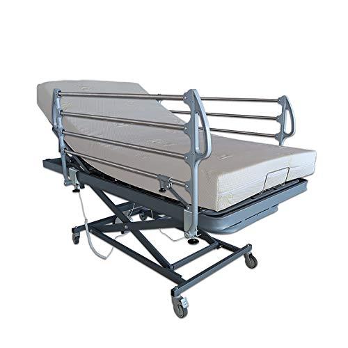Ventadecolchones - Camas Articuladas Geri谩trica de Hospital con Carro Elevador y colchon Visco 10 + 5 Medida 90 x 190 cm con Juego de barandillas