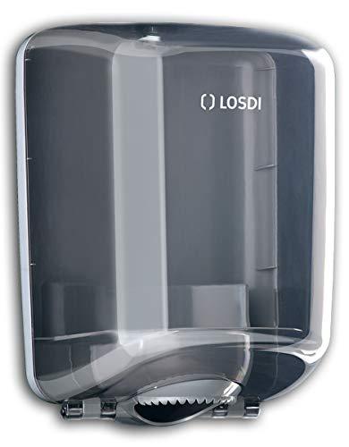 Handtuchrollen-Spender Innenabwicklung - Spiralkernrollenspender, Papierrollenspender mit Innenzug grau oder weiß, Farbe:grau-transparent