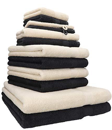 Betz 12-TLG. Handtuch Set Premium 100% Baumwolle 2 Duschtücher 4 Handtücher 2 Gästetücher 2 Seiftücher 2 Waschhandschuhe Farbe Sand/Graphit