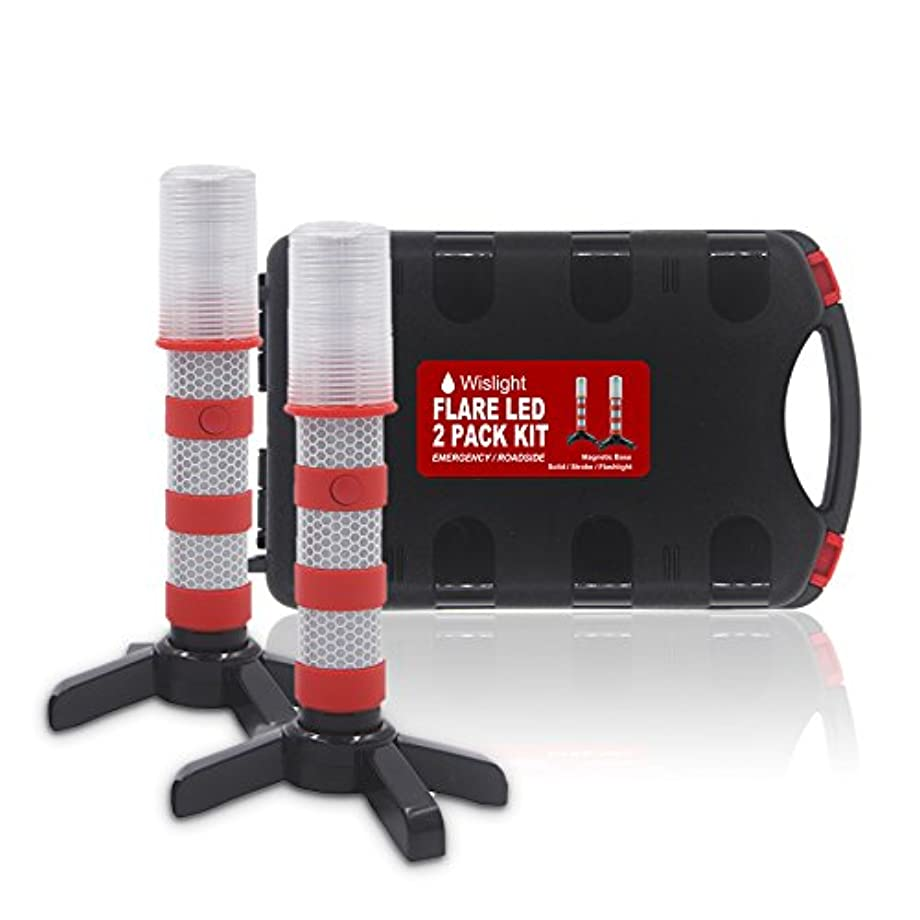 WISLIGHT LED Emergency Roadside Flares Safety Strobe Light - Road Warning Beacon Flare, Magnetic Base, Detachable Stand, Storage Case (1 Case Pack, Battery not Included)