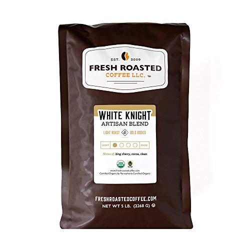 Fresh Roasted Coffee, White Knight Light Roast, Organic Fair Trade Kosher, Whole Bean, 5 Pound