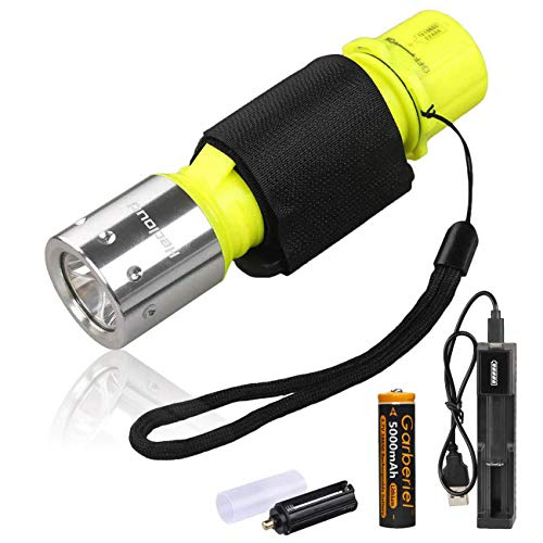 LED Tauchlampe IPX8 Wasserdichte 1000 Lumen Tauchen Taschenlampe 3 Modi Wiederaufladbare Unterwasser Taschenlampe mit Akku und Ladegerät zum Tauchen Schwimmen Wandern Angeln