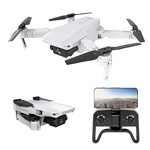 RC Drone met 4K HD Camera Video Live opname WiFi FPV Hoogte houden Mini Drones Opvouwbare Quadcopter, Zeer geschikt als cadeau voor uw kind,White,2battery