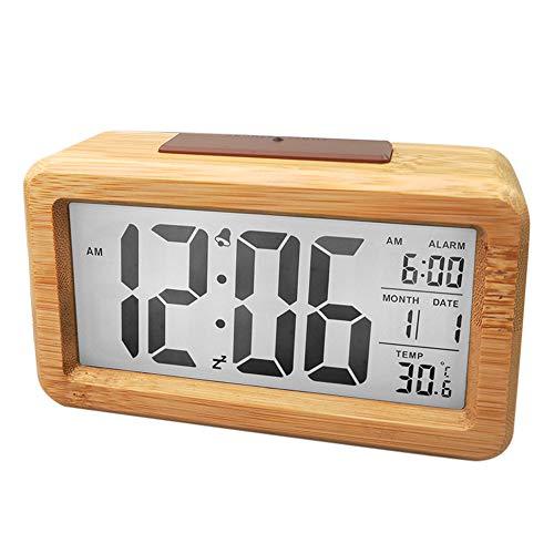 IWILCS Budzik z drewna, zegar cyfrowy, budzik LED, cyfrowy budzik z dużym wyświetlaczem LED, data i temperatury, funkcja drzemki i nocnej dla dzieci