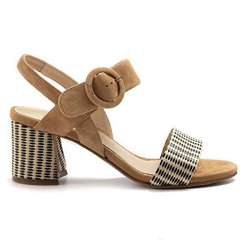 CARMENS - sandalen, suède, taupe en geweven weefsel - 45107RABATT Wood