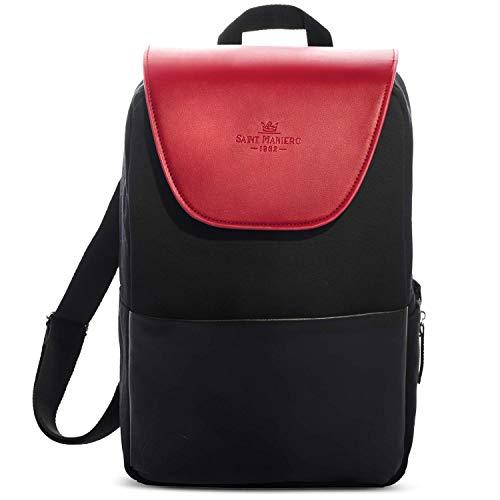 Saint Maniero Design Damen Rucksack für Alltag, Uni und Business – viel Stauraum (Laptop, Leitzordner, usw) – modische Farben – wasserabweisendes Material (Bordeaux Rot)