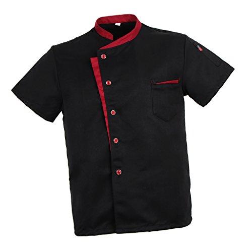Baoblaze Camisa Mezclilla Unisex Chef Chaqueta Arrugas Resistente Confortable Mangas Cortas Camiseta Cocina Uniforme Emocionante - Negro 2XL, como se describe