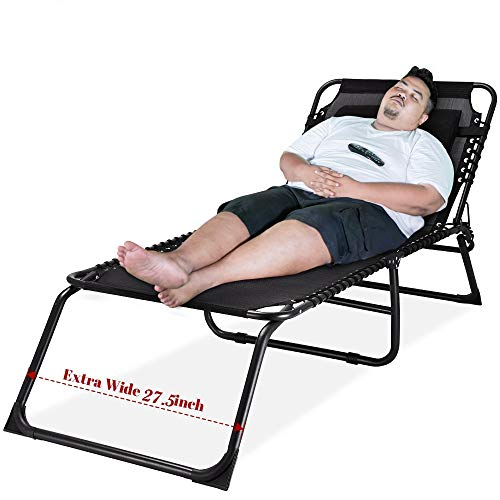 Outdoor Folding Lounge Chaise Super Wide 27.5 inch XL Size Sunbathing Recliner Lay Flat Sleeping Bed Cot Lounger (Black)