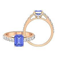 2.50 CT タンザナイトとモアッサナイト付き婚約指輪、八角形カットソリティアリングサイドストーン付き, 14K イエローゴールド, Size: 7