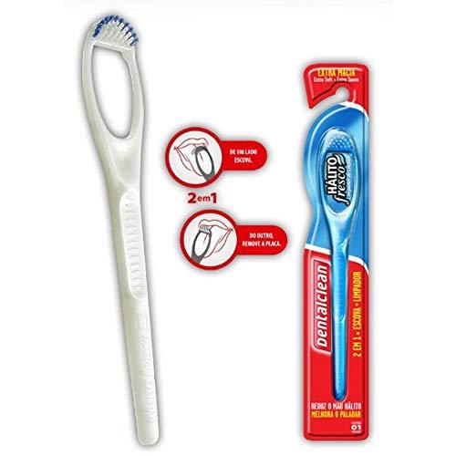 Limpador de Lingua Com Cerdas - Dental Clean Branco
