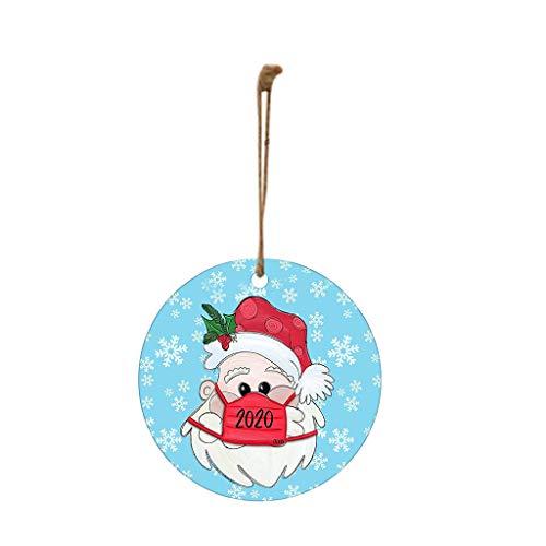 HINK 1PC 2020 Christmas Ornament Santa Wearing A Face Face Cove Decorate Christmas Tree, Xmas Pendant 1PC, Multicolor