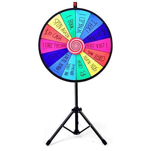 GOPLUS Glücksrad 24' Lotteriespiele Preisrad Glückspiel 60cm mit Ständer höhenverstellbar