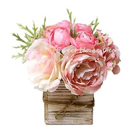 Amazon Com Sweet Home Deco 8 Silk Rose Peony Hydrangea Mixed Flower Arrangement W Wood Vase Wedding Home Decorations Light Pink Home Kitchen