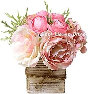 Sweet Home Deco 8'' Silk Rose Peony Hydrangea Mixed Flower Arrangement w/ Wood Vase Wedding Home Decorations (Light Pink)